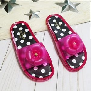 Kate Spade Jelly slipper sandals with pink flower